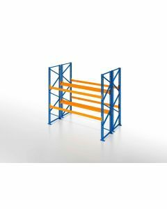 Palettenregal, Doppelregal, 3 Lagerebenen, H2500xB1825xT2x1100 mm, Fachlast 3000 kg, 6 Palettenplätze, Rahmen blau, Traverse orange