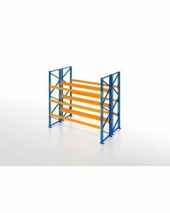 Palettenregal, Doppelregal, 4 Lagerebenen, H2500xB1825xT2x1100 mm, Fachlast 3000 kg, 8 Palettenplätze, Rahmen blau, Traverse orange