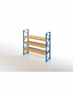 Palettenregal, Einfachregal mit Spanplatten, 4 Lagerebenen, H2500xB1825xT1100 mm, Fachlast 3800 kg, 8 Palettenplätze, Rahmen blau, Traverse orange