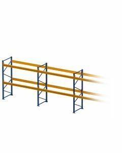 Palettenregal, Einfachregal, 3 Lagerebenen, H3000xB14100xT1100 mm, Fachlast 3800 kg, 54 Palettenplätze, Rahmen capriblau - RAL 5019, Traverse hellorange - RAL 2008