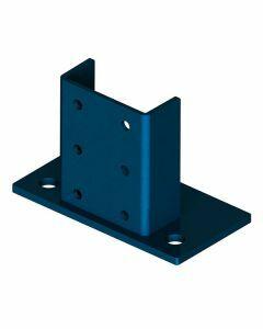 Fußplatte hoch, Länge 100 mm, Materialstärke 8 mm, Farbe capriblau - RAL 5019