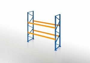 Palettenregal, Einfachregal, 3 Lagerebenen, H3000xB1825xT1100 mm, Fachlast 3800 kg, 6 Palettenplätze, Rahmen blau, Traverse orange
