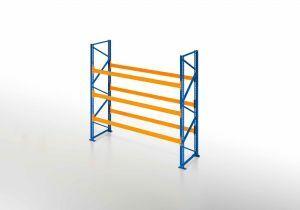 Palettenregal, Einfachregal, 4 Lagerebenen, H2500xB1825xT1100 mm, Fachlast 3800 kg, 8 Palettenplätze, Rahmen blau, Traverse orange