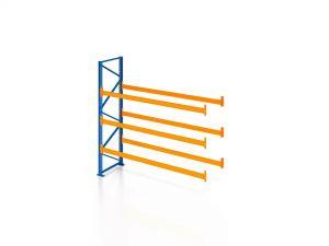 Palettenregal, Anbauregal, 4 Lagerebenen, H2500xB1825xT1100 mm, Fachlast 3000 kg, 8 Palettenplätze, Rahmen blau, Traverse orange