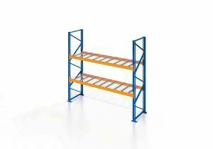 Palettenregal, Einfachregal mit Gitterboden, 3 Lagerebenen, H3000xB1825xT1100 mm, Fachlast 3800 kg, 6 Palettenplätze, Rahmen blau, Traverse orange