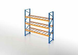 Palettenregal, Einfachregal mit Gitterboden, 4 Lagerebenen, H2500xB1825xT1100 mm, Fachlast 3800 kg, 8 Palettenplätze, Rahmen blau, Traverse orange