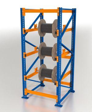 Kabeltrommelregal Blocksystem, Grundregal, H2000xB750xT1100 mm, 2 Ebenen, 3000 kg Feldlast, 34 mm Ø Trommelrohr