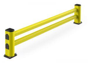 Regalendschutz LM Ø150 mm, Breite 2400 mm, Höhe 500 mm, RAL 1018 hellgelb / RAL 7040 grau