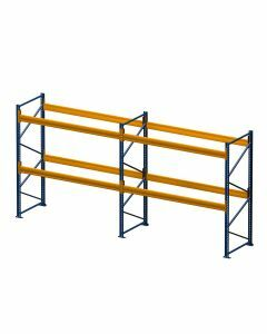 Palettenregal, Komplettregal, 3 Lagerebenen, H3500xB3950xT1100 mm, Fachlast 3800 kg, 12 Palettenplätze, Rahmen capriblau - RAL 5019, Traverse hellorange - RAL 2008