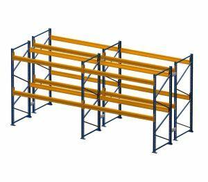 Palettenregal, Doppelregal, 3 Lagerebenen, H2500xB8500xT2x900 mm, Fachlast 3000 kg, 54 Palettenplätze, Rahmen capriblau - RAL 5019, Traverse hellorange - RAL 2008