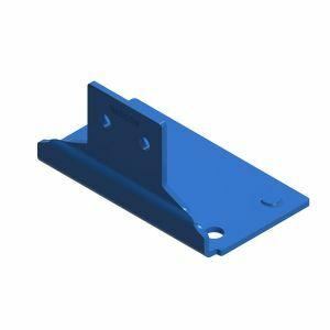 Fußplatte, Länge 100 mm, Materialstärke 5 mm, Farbe capriblau - RAL 5019