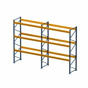 Palettenregal, Komplettregal, 4 Lagerebenen, H5500xB3950xT1100 mm, Fachlast 3800 kg, 16 Palettenplätze, Rahmen capriblau - RAL 5019, Traverse hellorange - RAL 2008