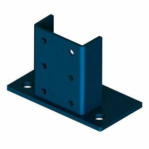 Fußplatte hoch, Länge 140 mm, Materialstärke 8 mm, Farbe capriblau - RAL 5019